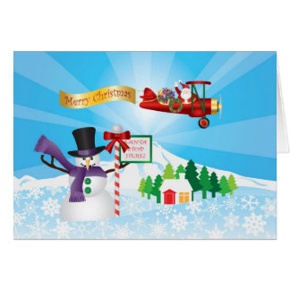 Santa Claus Biplane Flying Over Winter Snow Card