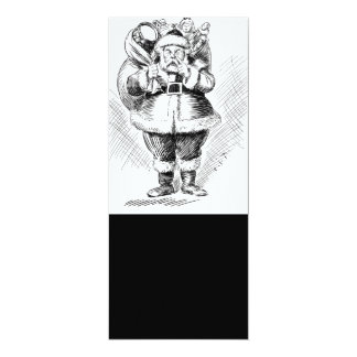 Santa Claus Black and White Illustration Card