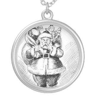 Santa Claus Black and White Illustration Round Pendant Necklace