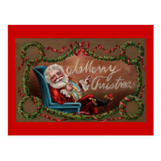 Santa Claus Blowing Merry Christmas Smoke! Postcard