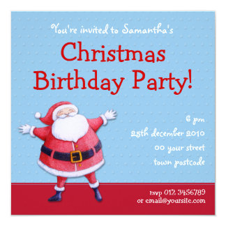 Santa Claus blue Christmas BIrthday Invitation