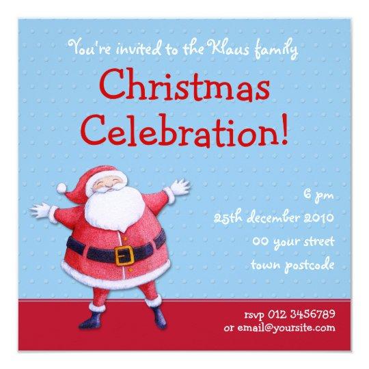 Santa Claus blue Christmas Party Invitation