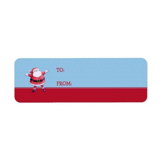 Santa Claus blue Gift Tag Label