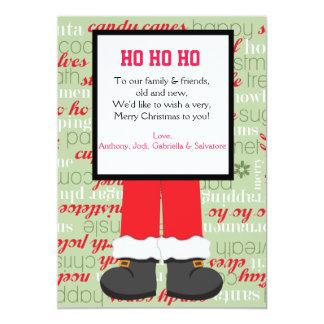 Santa Claus Boots Christmas Party Invitaion 5x7 Paper Invitation Card
