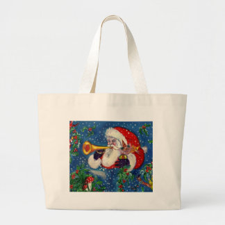 SANTA CLAUS  BUGLER Musical Christmas Night Large Tote Bag
