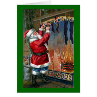 Santa Claus Busy Filling Stockings Greeting Card