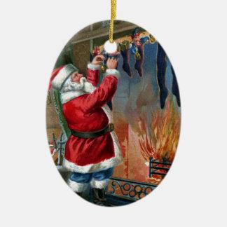 Santa Claus Busy Filling Stockings Ceramic Ornament