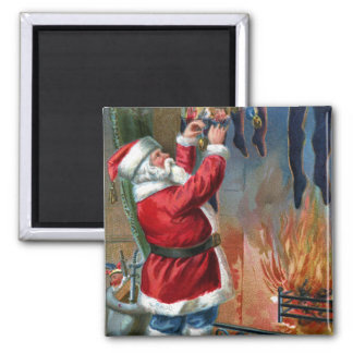 Santa Claus Busy Filling Stockings 2 Inch Square Magnet