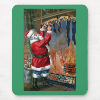 Santa Claus Busy Filling Stockings Mouse Pad
