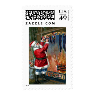 Santa Claus Busy Filling Stockings Postage Stamps