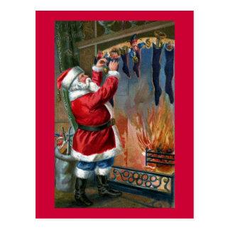 Santa Claus Busy Filling Stockings Postcard