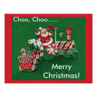 Santa Claus Candy Train Poster