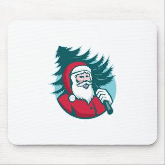 Santa Claus Carrying Christmas Tree Retro Mouse Pad