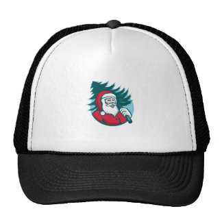 Santa Claus Carrying Christmas Tree Retro Trucker Hat