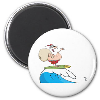 Santa Claus Carrying His Sack While Surfing 2 Inch Round Magnet