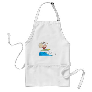 Santa Claus Carrying His Sack While Surfing Adult Apron
