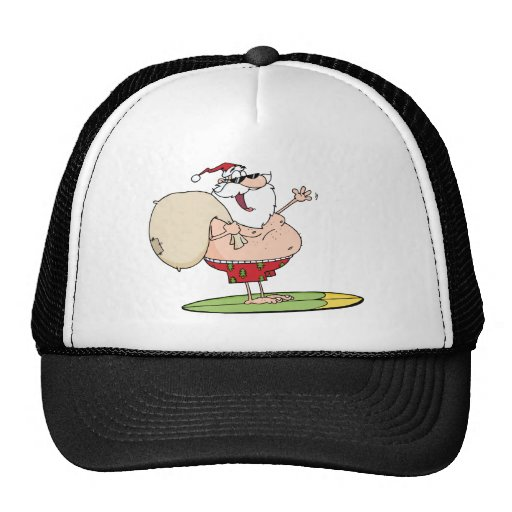 Santa Claus Carrying His Sack While Surfing Trucker Hat