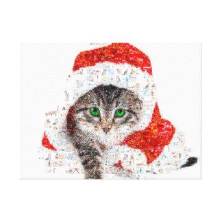 santa claus cat - cat collage - kitty - cat love canvas print