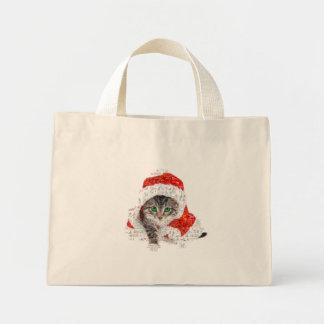 santa claus cat - cat collage - kitty - cat love mini tote bag