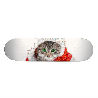 santa claus cat - cat collage - kitty - cat love skateboard deck
