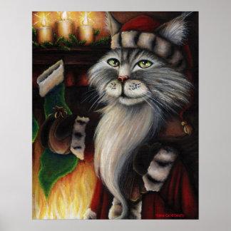 Santa Claus Cat Christmas Fantasy Art Poster