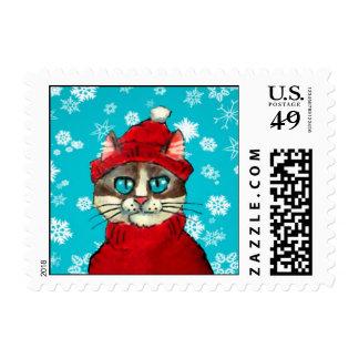 Santa Claus Cat cute postage stamps