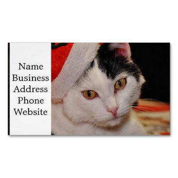 Santa claus cat - merry christmas - pet cat business card magnet