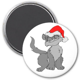 Santa Claus cat with a red santa hat Magnet