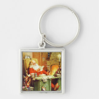 Santa Claus Checking His List at the North Pole Keychain