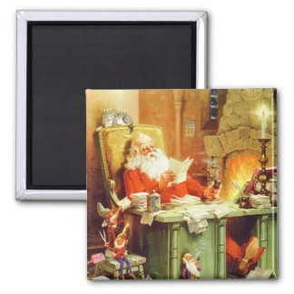 Santa Claus Checking His List at the North Pole Refrigerator Magnets
