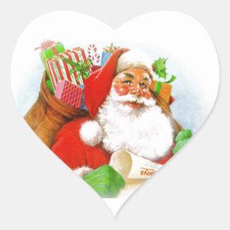 Santa Claus -Checking His List Heart Sticker