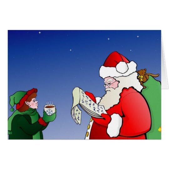 Santa Claus checking his list holiday notecard