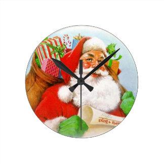 Santa Claus -Checking His List Round Clock