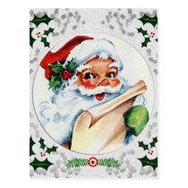Santa Claus Checking List Snowflake Holly Frame Postcard