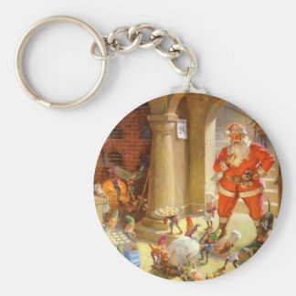 Santa Claus Checks On the Elves Baking Cookies Keychain