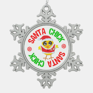 Santa Claus Chick Celebrating Christmas Snowflake Pewter Christmas Ornament