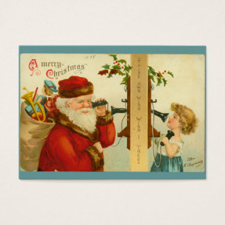 Santa Claus & Child on Telephone Vintage Style Business Card