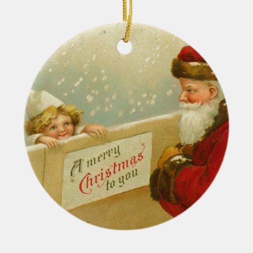 Santa Claus & Child Victorian Style Double-Sided Ceramic Round Christmas Ornament
