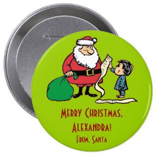 Santa Claus Child's List Christmas Gift Tag Button