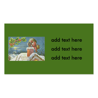 Santa Claus Chimney Presents Church Holly Double-Sided Standard Business Cards (Pack Of 100)