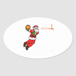 Santa Claus Christmas Basketball Player Oval Sticker