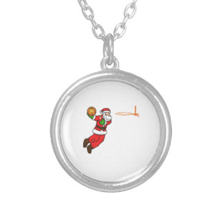 Santa Claus Christmas Basketball Player Silver Plated Necklace