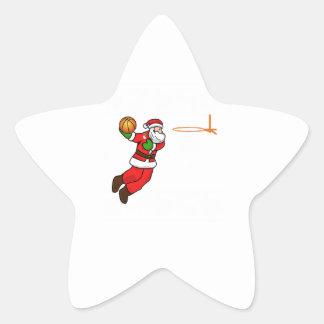 Santa Claus Christmas Basketball Player Star Sticker