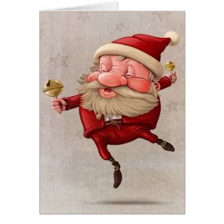 Santa Claus Christmas bells dancing Card
