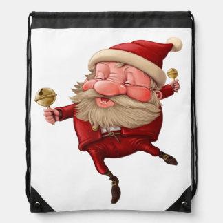 Santa Claus Christmas bells dancing Drawstring Backpack