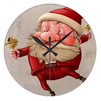 Santa Claus Christmas bells dancing Large Clock