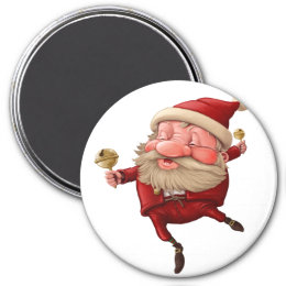 Santa Claus Christmas bells dancing Magnet