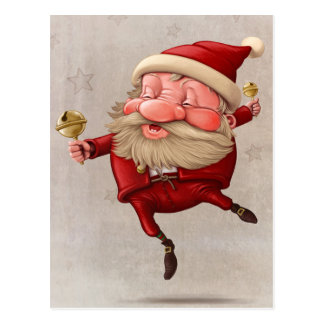Santa Claus Christmas bells dancing Postcard