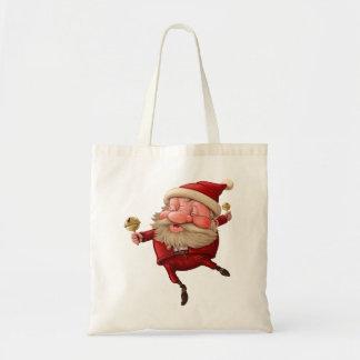 Santa Claus Christmas bells dancing Tote Bag