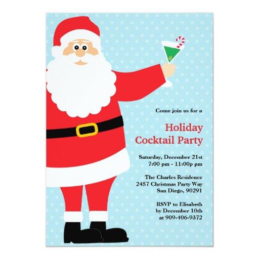 "Santa Claus Christmas Cocktail Party Invitation 5"" X 7"" Invitation Card"
